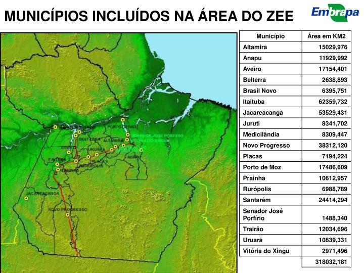 MUNICÍPIOS INCLUÍDOS NA ÁREA DO ZEE