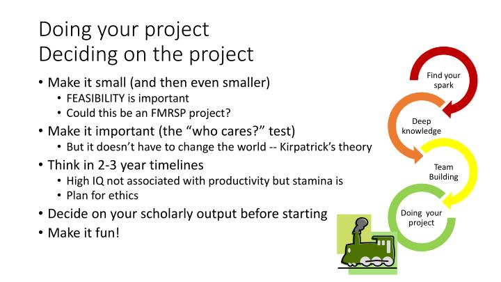 Doing your project