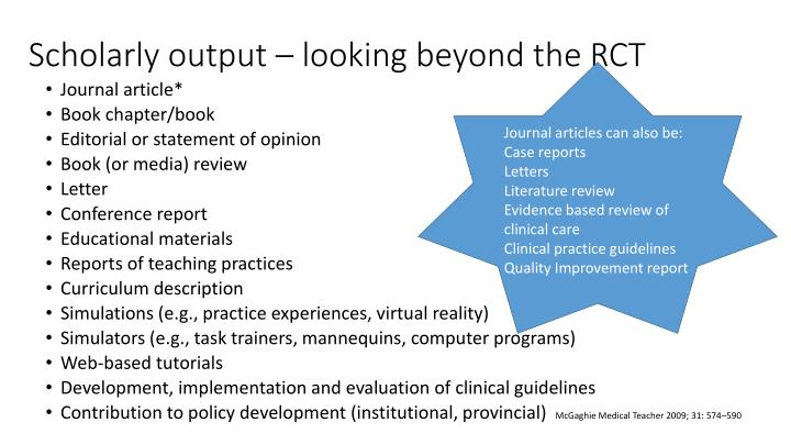 Scholarly output – looking beyond the RCT