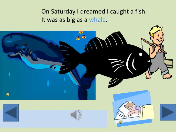 On Saturday I dreamed I caught a fish.  It was as big as a