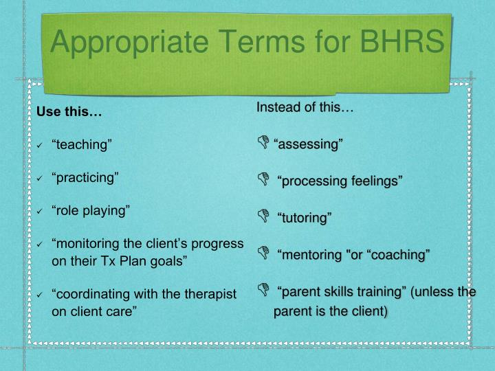 Appropriate Terms for BHRS