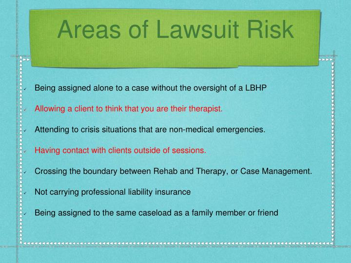 Areas of Lawsuit