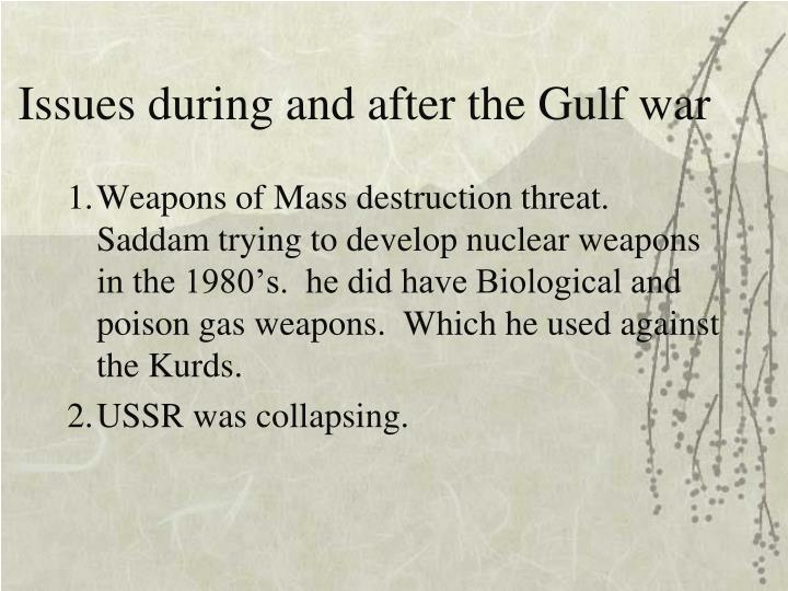 Issues during and after the Gulf war