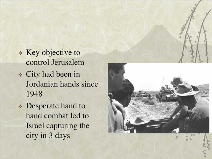 Key objective to control Jerusalem