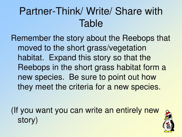 Partner-Think/ Write/ Share with Table