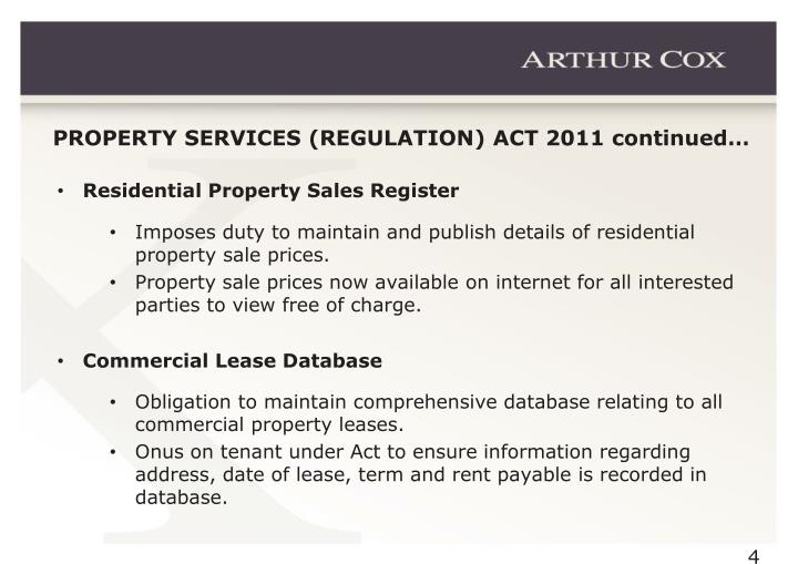 PROPERTY SERVICES (REGULATION) ACT 2011 continued…