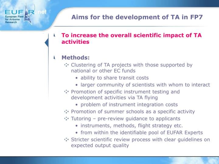 Aims for the development of TA in FP7