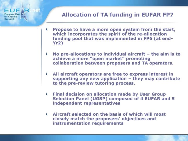 Allocation of TA funding in EUFAR FP7