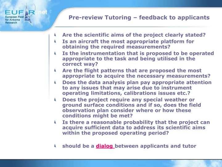 Pre-review Tutoring – feedback to applicants