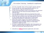 pre review tutoring feedback to applicants