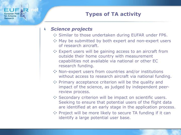 Types of TA activity