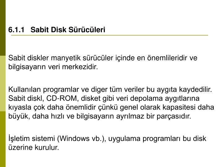 6.1.1Sabit Disk Sürücüleri