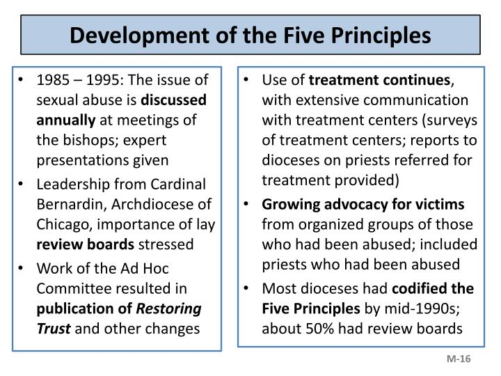 Development of the Five Principles