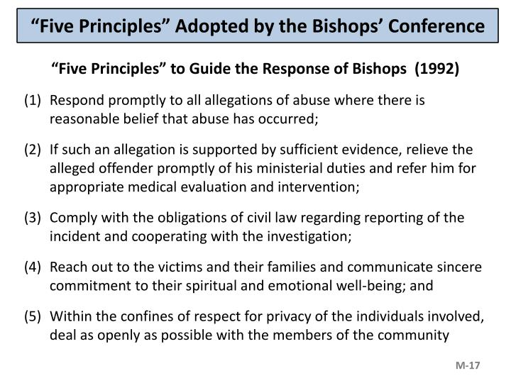 """Five Principles"" Adopted by the Bishops' Conference"