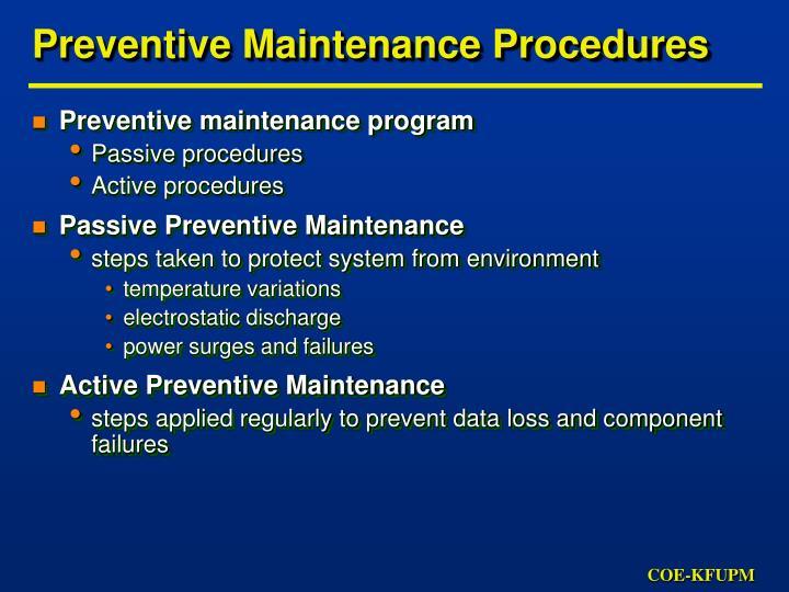 Preventive Maintenance Program: Use Maintenance Calendars In