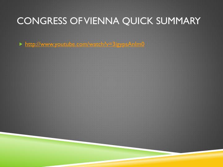 Congress of Vienna Quick Summary
