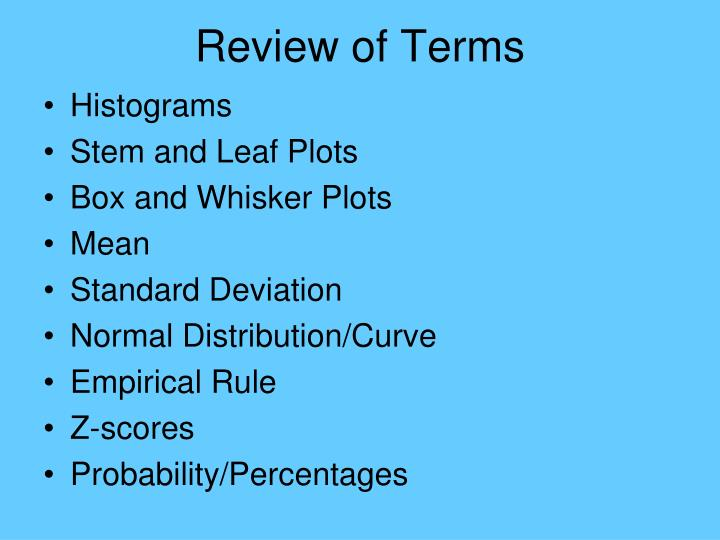Review of Terms