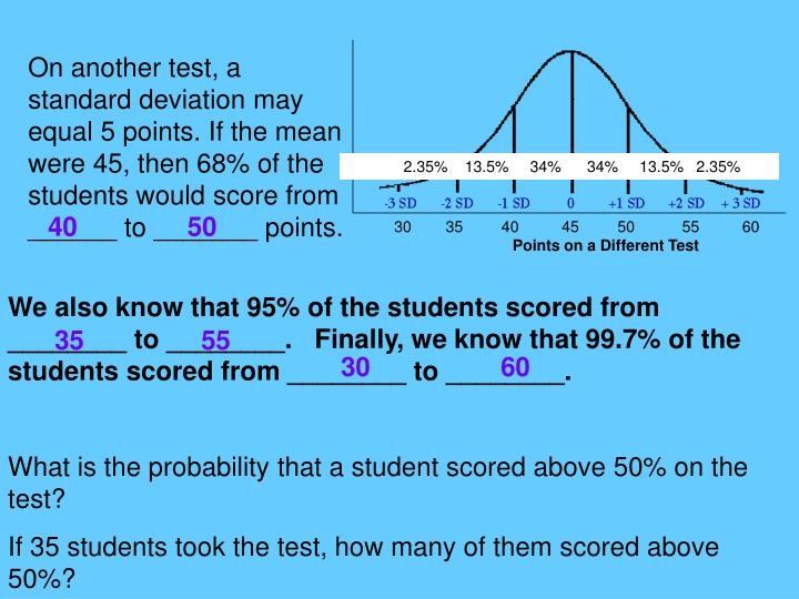 On another test, a standard deviation may equal 5 points. If the mean were 45, then 68% of the students would score from ______ to _______ points.