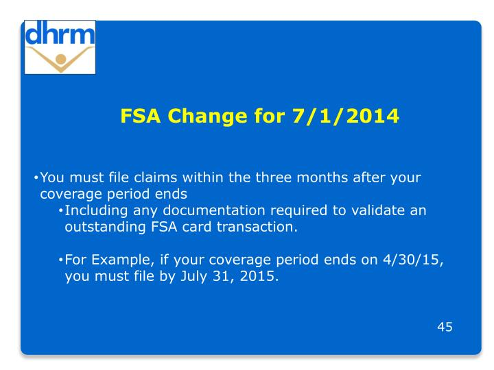 FSA Change for 7/1/2014