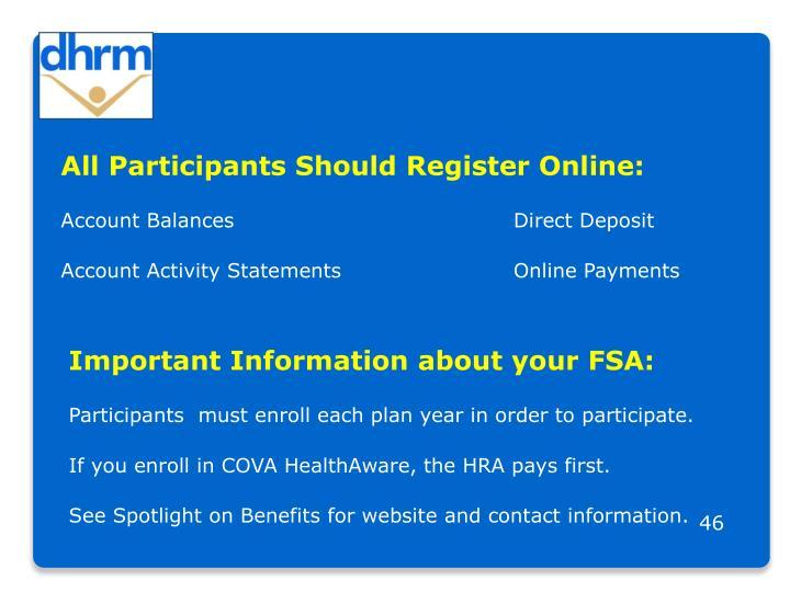All Participants Should Register Online: