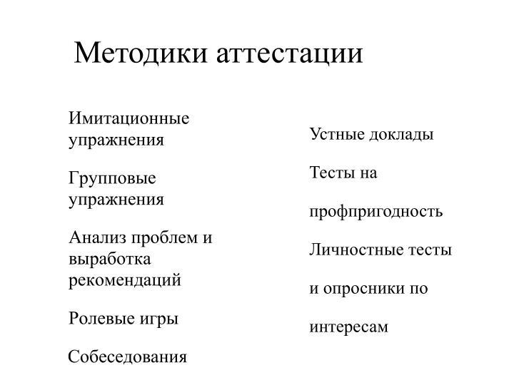 Методики аттестации
