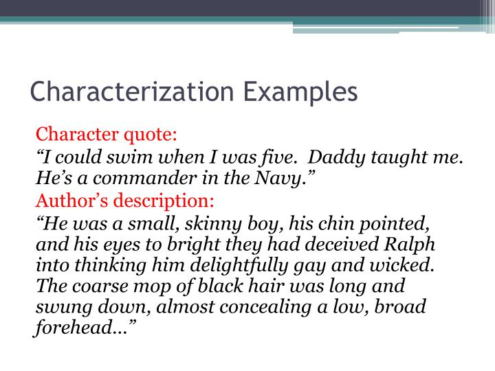 Characterization Examples