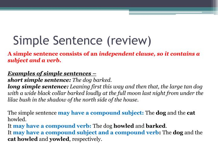 Simple Sentence (review)