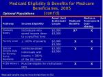 medicaid eligibility benefits for medicare beneficiaries 2005 cont d
