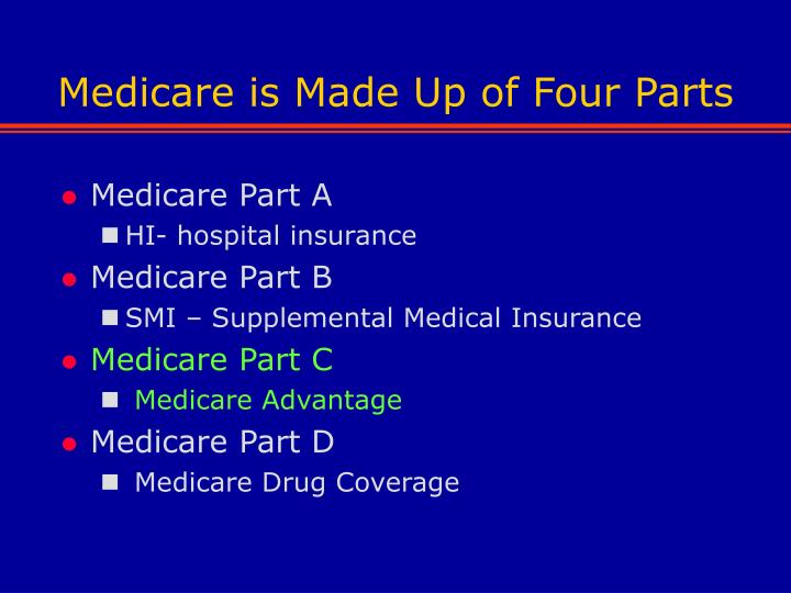Medicare is made up of four parts