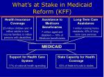 what s at stake in medicaid reform kff