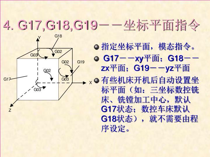 指定坐标平面,模态指令。