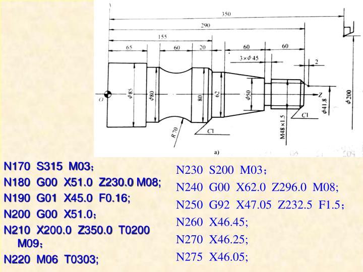 N170  S315  M03