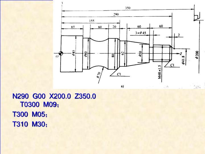 N290  G00  X200.0  Z350.0  T0300  M09