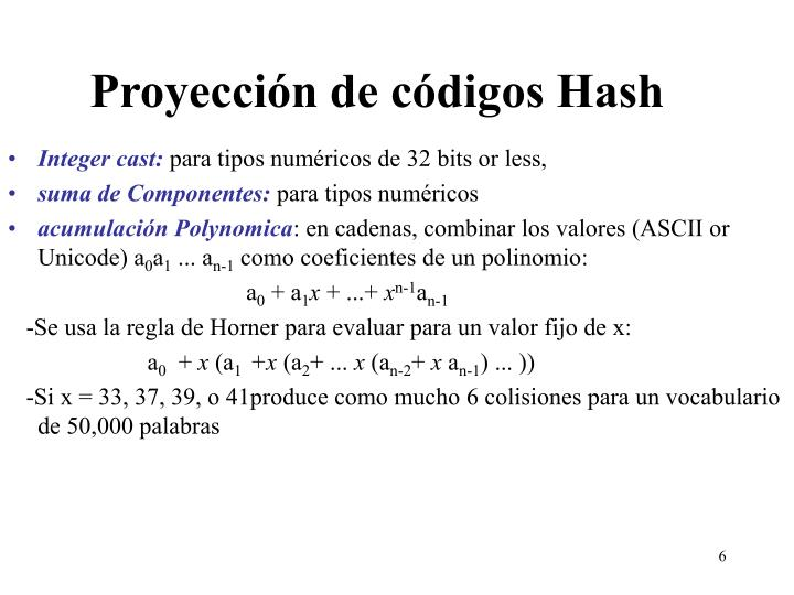 Proyección de códigos Hash