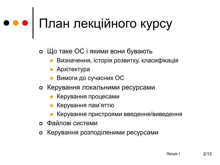План лекційного курсу