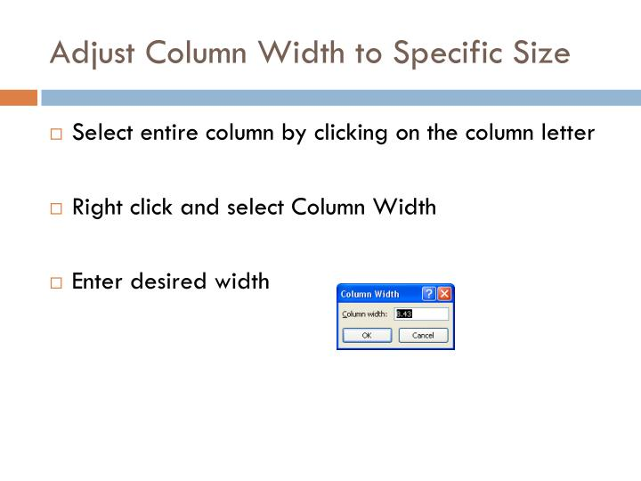 Adjust Column Width to Specific Size