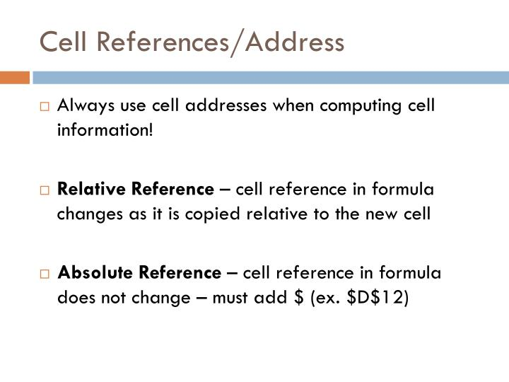 Cell references address