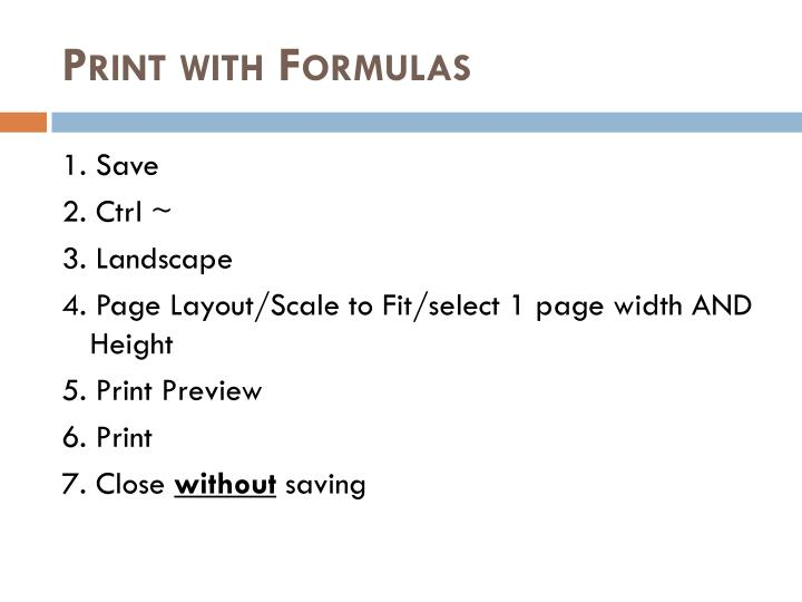 Print with Formulas