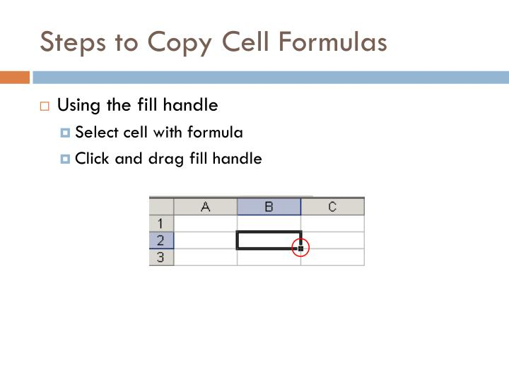 Steps to Copy Cell Formulas