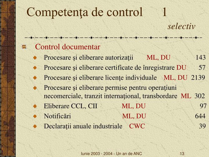 Competenţa de control   1