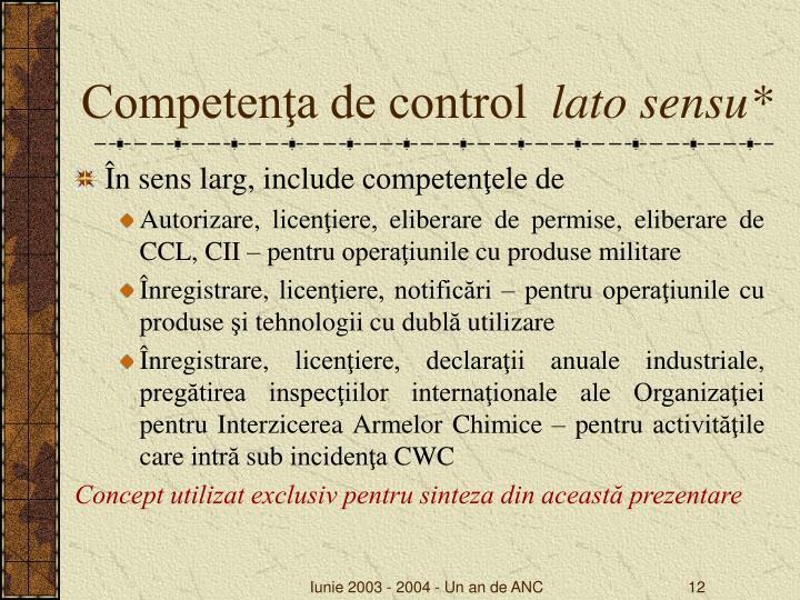Competenţa de control
