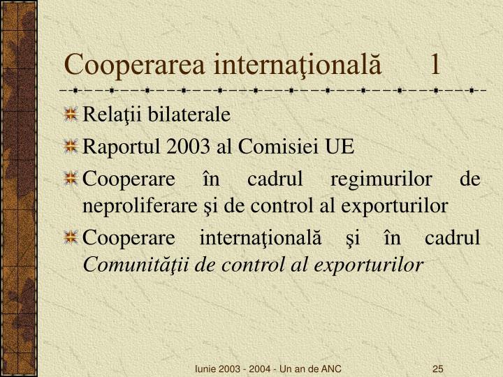 Cooperarea internaţională      1