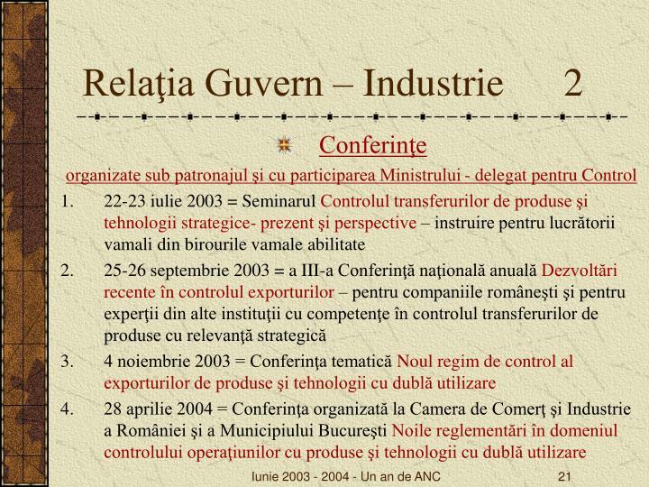 Relaţia Guvern – Industrie      2