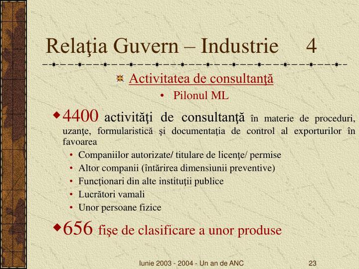 Relaţia Guvern – Industrie     4