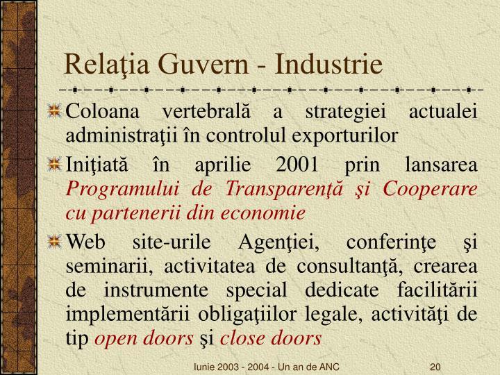 Relaţia Guvern - Industrie