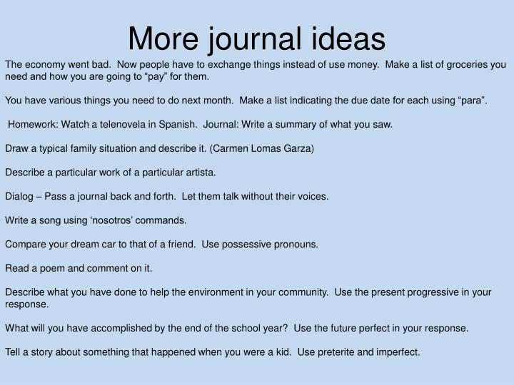More journal ideas