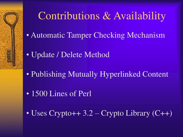 Contributions & Availability