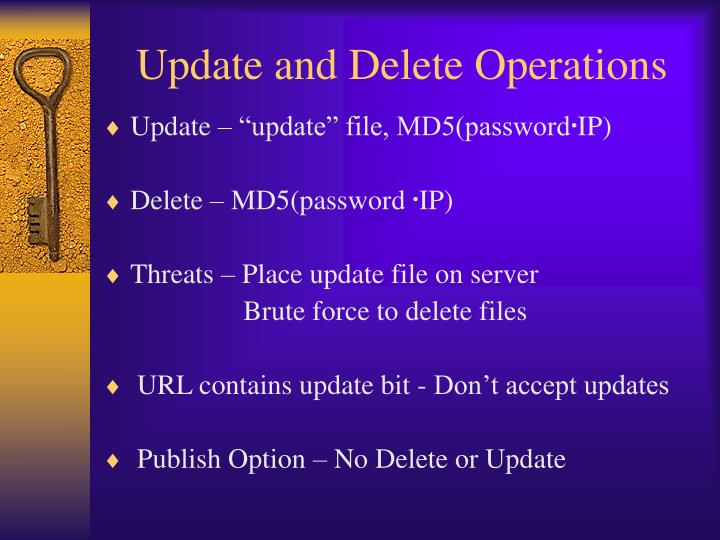 Update and Delete Operations