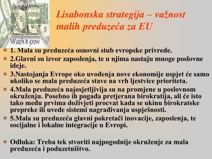 Lisabonska strategija – važnost malih