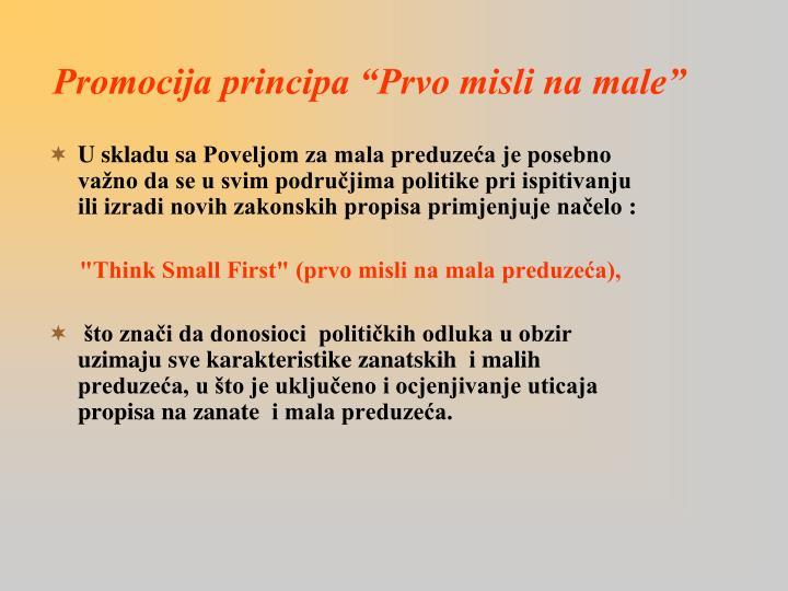 """Promocija principa """"Prvo misli na"""